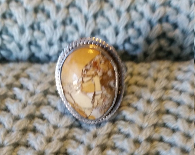 Pictured Jasper and Sterling Silver ring sz 8