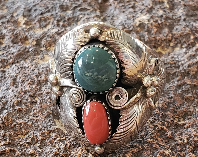 Awesome Turquiose and Red Coral Sterling Silver Ring Size 10.5