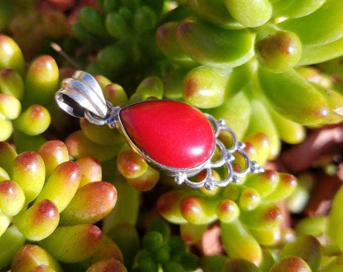 Love this Red Coral and Sterling Silver Pendant!