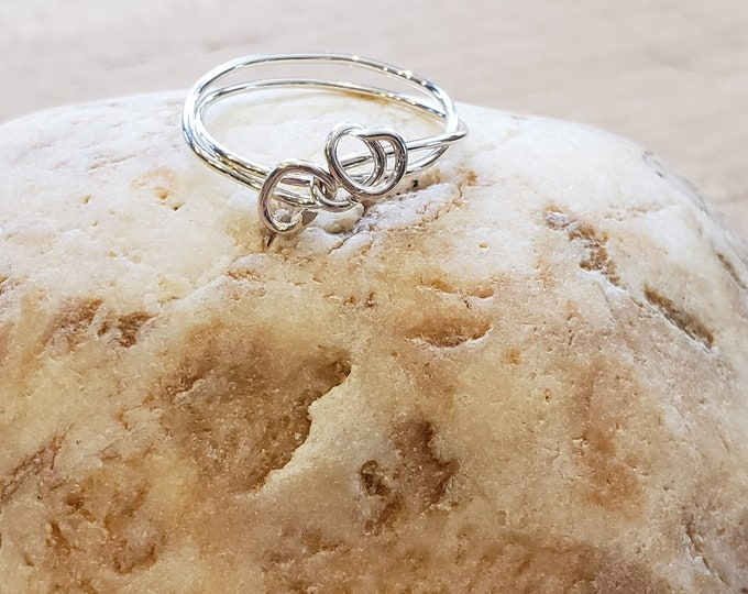 Sterling Silver Midi ring . Size 4.5 Wire Wrapped