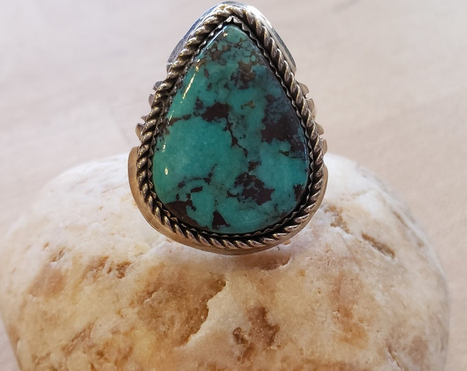 Large Turquiose and Sterling Silver ring size 11