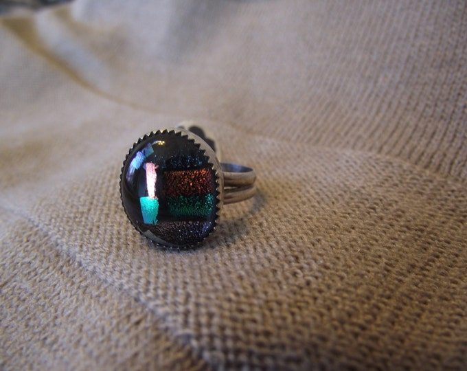 Dichroic Glass and Sterling Silver Ring Sz 8.5