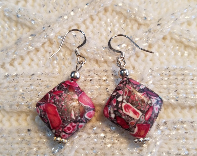 CLEARANCE !!!Red and Hot Pink Mosaic Beaded Earrings. Dangle