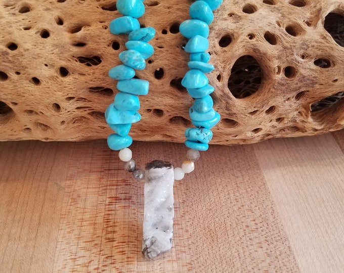Turquiose and geode necklace 15.5 inches long. Sterling silver clasp