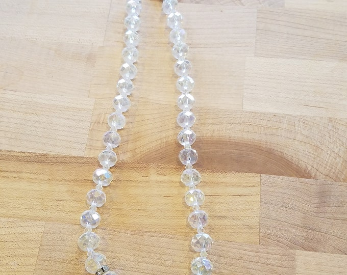 Faceted Crystal Beaded necklace 20 inches long.