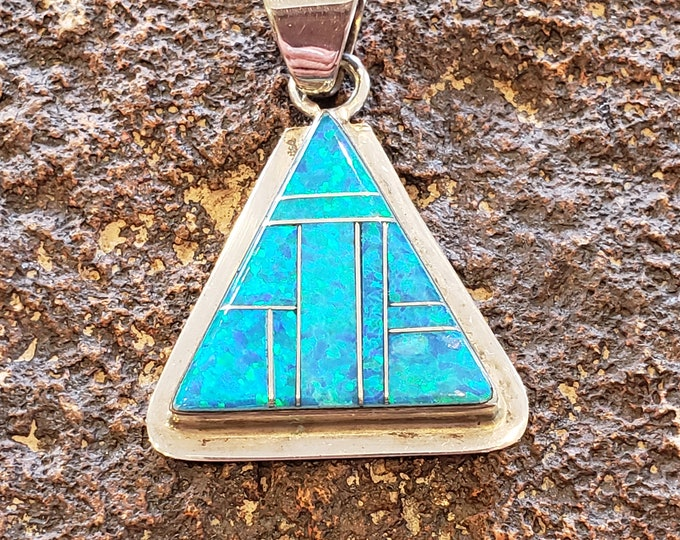 Opal and Sterling Silver pendant Triangle shape