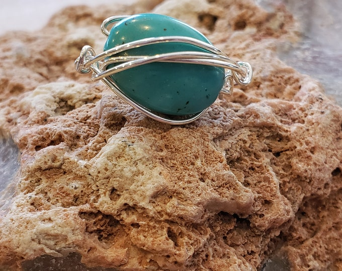 Sterling Silver wire wrapped ring with Turquiose stone , size 5.5