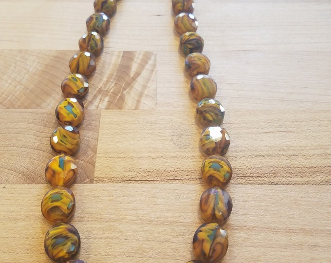 CLEARANCE ! 21 INCH long faceted glass brown beaded necklace