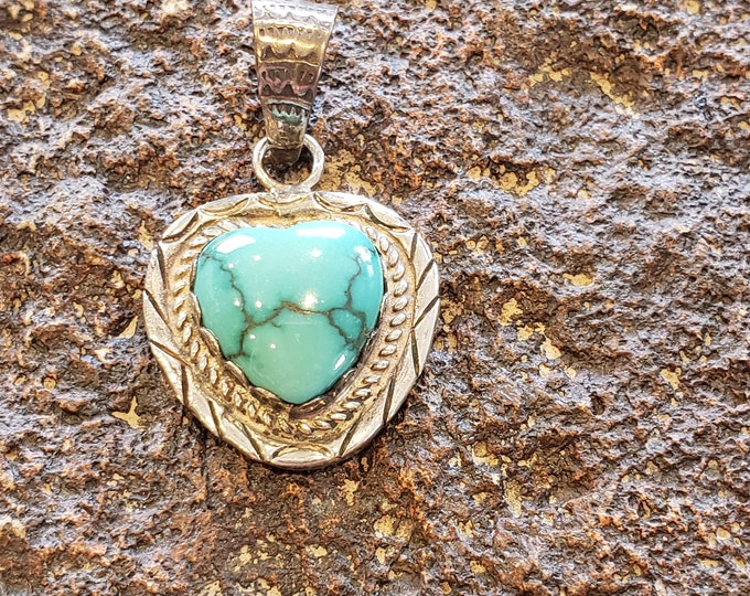 Sterling Silver and Turquiose Heart Pendant