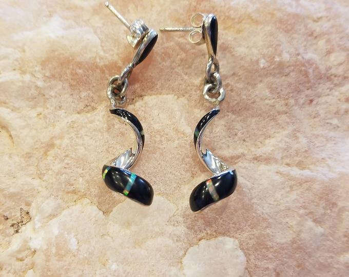 Dangle pierced black 9nyx and opal earrings