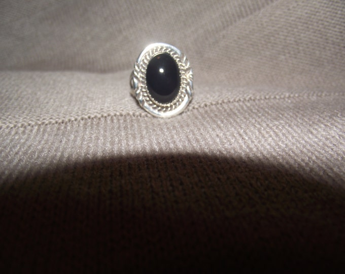 Black Onyx and Sterling SIlver Ring Size 7 plus
