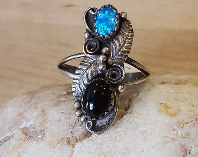 Black Onyx and Opal ring set in sterling silver size 6