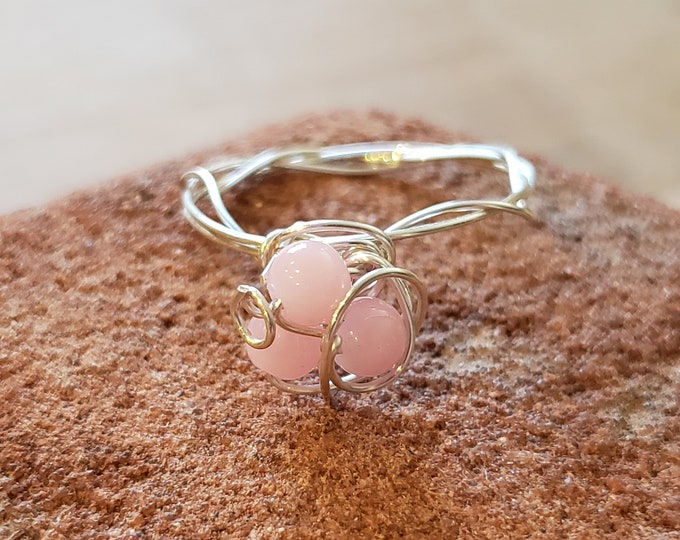 Whimsical sterling silver wire wrapped and rose quartz ring size 6.5 / 7.