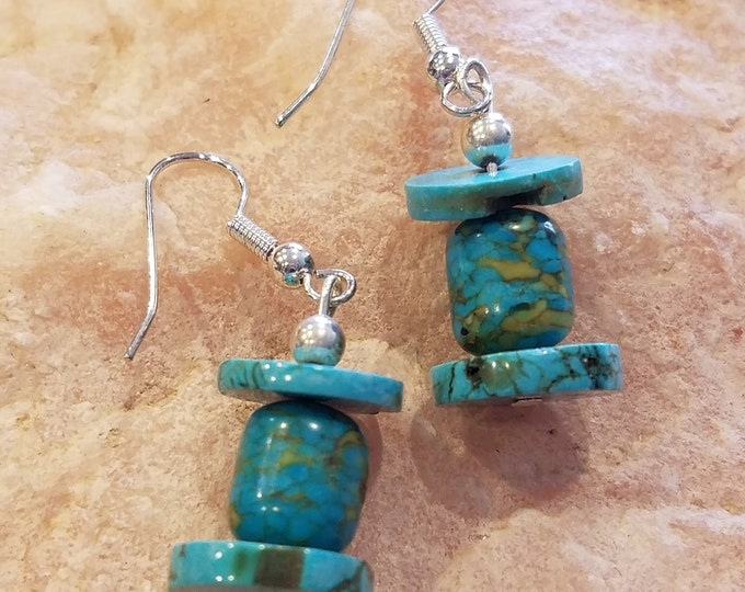 Beaded Turquiose dangle earrings pierced