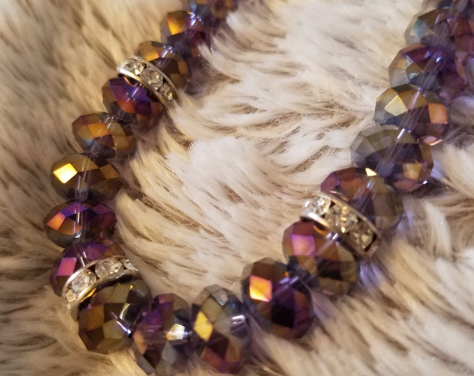 CLEARANCE !!!!Purple Faceted Glass Beaded Necklace . 20 inches