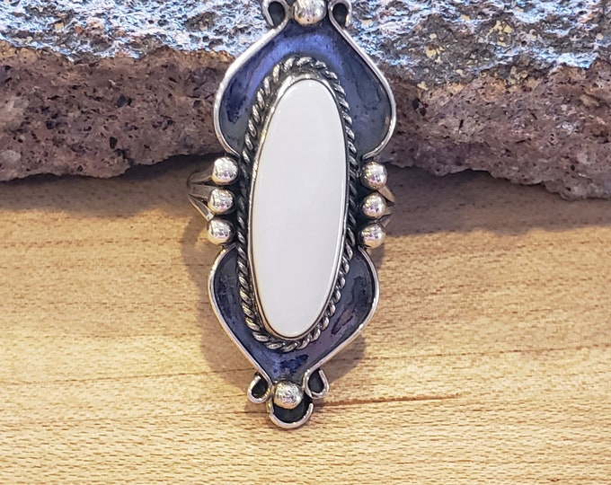 Gotta have this large Mother of Pearl and Sterling Silver ring size 6.5