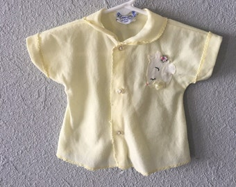 1950's Infant Teddy Bear Floral Appliqué Vintage Baby Top by Zona Lee
