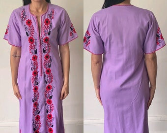 6a1a5e537fa 1970 s Oaxacan Lavender Maxi Kaftan Dress Vintage Hand Embroidered Purple  and Red Floral Mexican Hippie Boho Bohemian 70s Cotton Maxi Caftan