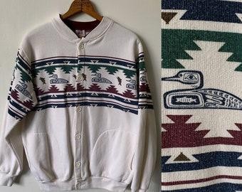 ccb25d01dbd7d 1994 Vintage Southwestern Duck Prink White Button Up Sweatshirt 1990 s 90 s Southwestern  Aztec Print Jacket