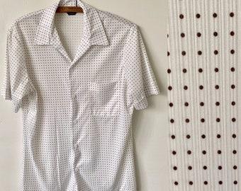 85124515c570f 1970 s Men s Polka Dot Button Front Disco Shirt Vintage Polyester 70 s  Men s White and Brown Polka Dot Mod Shirt