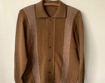 c9a0cf77ef8 1950 s Brown Collared Knit Cardigan Sweater Vintage Mid Century Modern  Brown Cardigan 50 s Men s Button Front Mod Cardigan Jumper