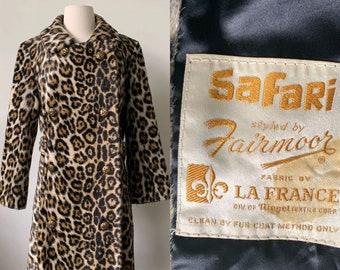 d44a4130c7f5 1960 s Leopard Print Faux Fur 60 s Mid Century Modern Cheetah Animal Print  Mod Coat By Safari la France Fairmoor