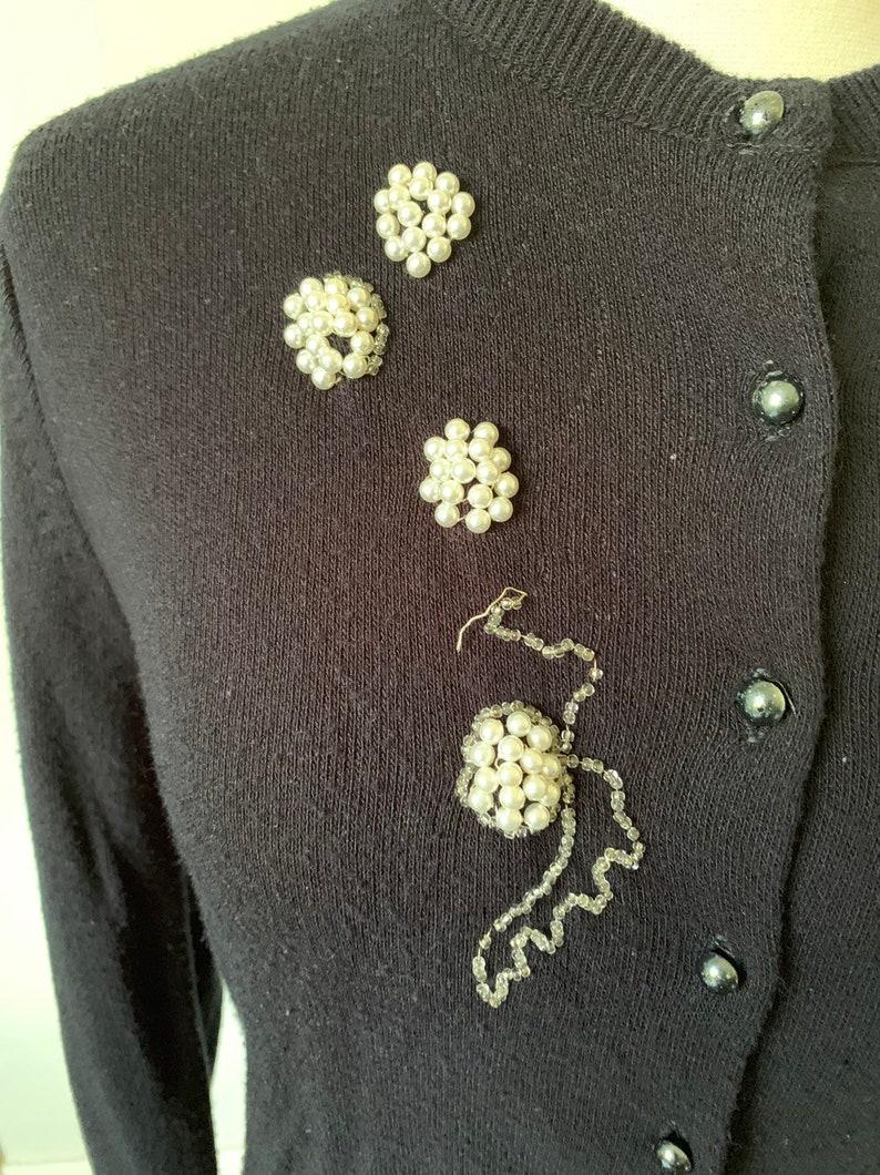 1950/'s Beaded Pearl Black Cardigan Sweater Vintage 50/'s Pearl Beaded Cardigan Jumper