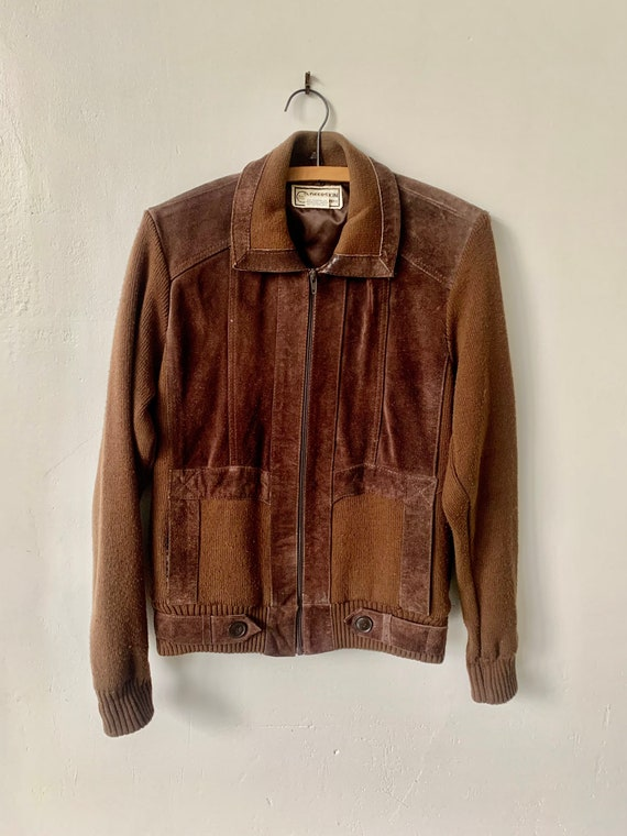 Vintage Brown Suede Leather Jacket 1980's Suede an