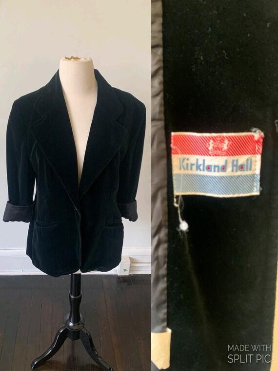 1960's Black Velvet Women's Blazer Vintage Black V