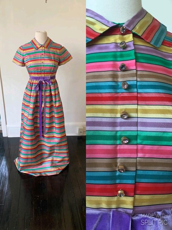 Vintage Rainbow Striped Mid Century Mod Maxi Dress