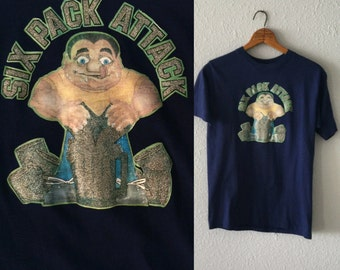 "1980's ""Six Pack Attack"" Vintage Beer Cotton Poly Blend T Shirt"