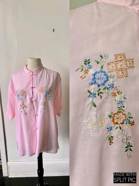 Vintage Oriental Embroidered Unisex Asian Mockneck