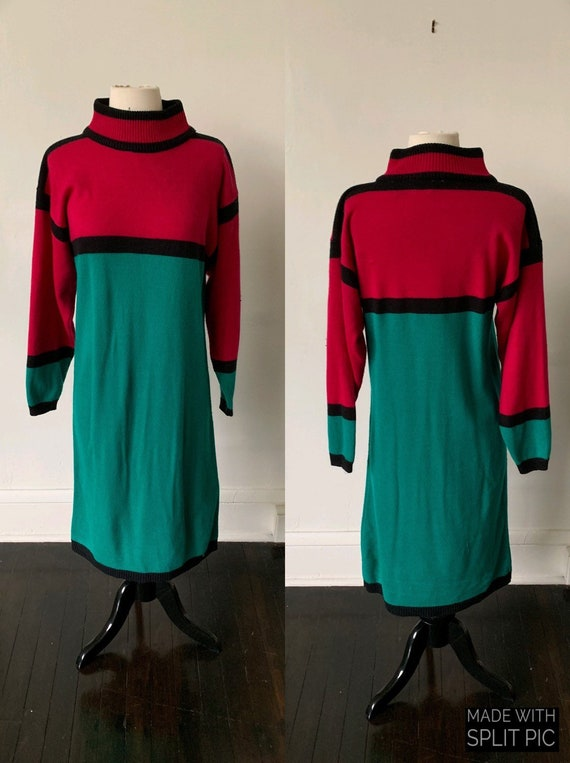 Vintage Color Block Mockneck Sweater Dress 1990's