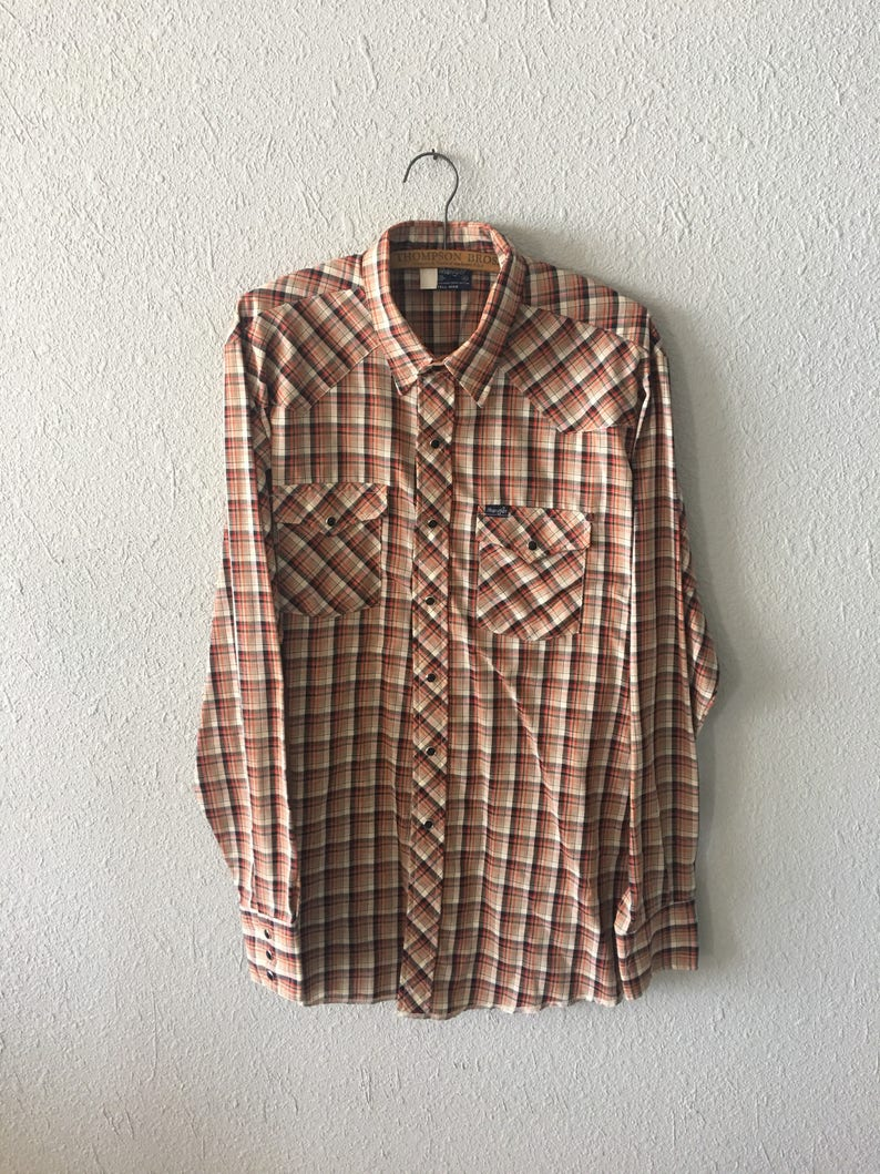 Vintage Wrangler Plaid Snap Button Down Lightweight Red and Black 1980/'s 80/'s Ranchwear Shirt
