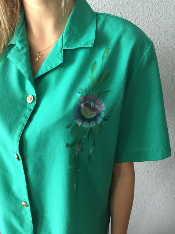 Vintage Green Hand Painted Bohemian Blouse Vintage
