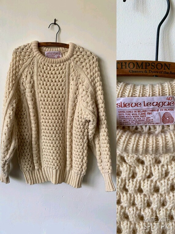 Vintage Fisherman Hand Knit Sweater 1980's 100% Ir