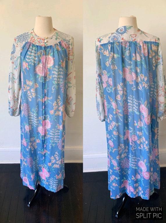 1970's Floral Semi Sheer Long Sleeve Kaftan Vintag