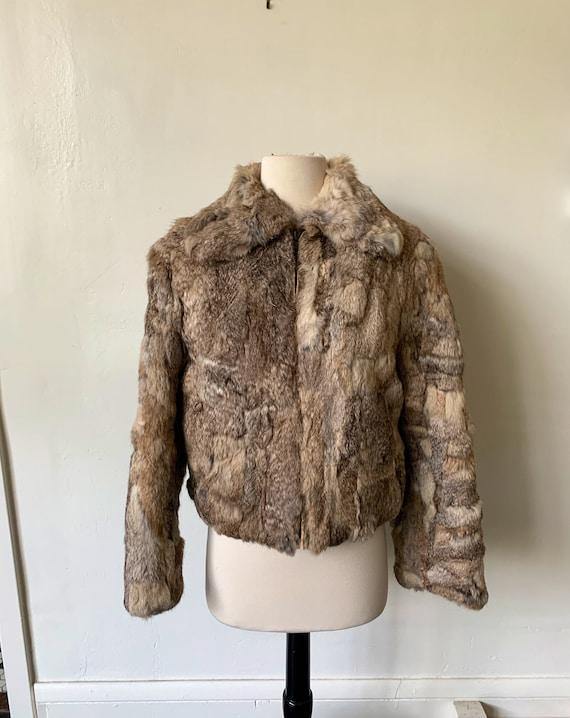 Vintage Rabbit Hair Fur Coat 1970's 70's Beige Fur