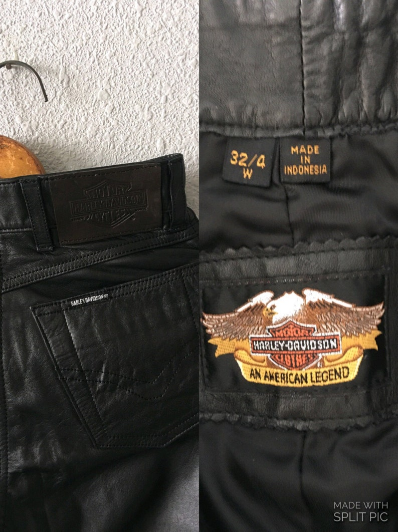 Vintage Harley-Davidson High Waisted Leather Pants 1990/'s HD Leather
