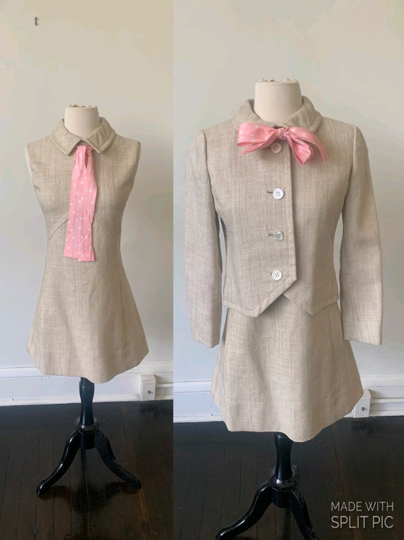 Vintage Mid Century Mod Mini Dress and Blazer Set