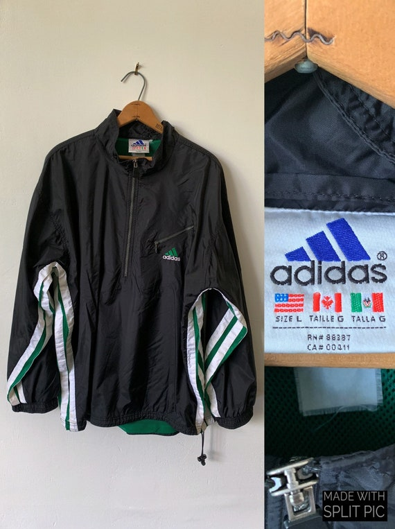 Vintage Adidas tracksuit jacket top in green black Depop