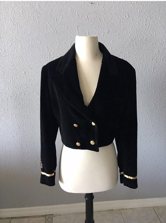 1980's Velvet Cropped Military Blazer Vintage Blac