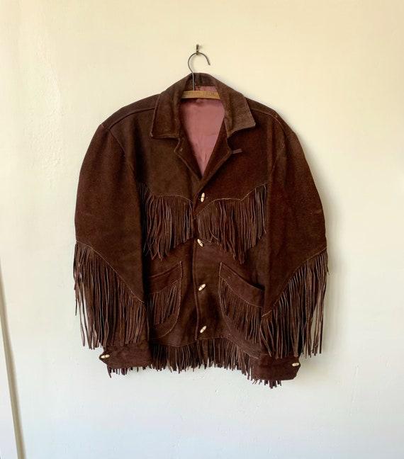 Vintage Suede Fringed Men's Brown Leather Jacket 1