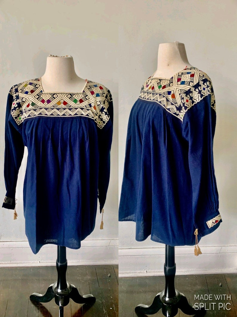 Vintage Oaxacan Handmade Blouse Vintage Mexican Embroidered Top Vintage Boho Hippie Festival Babydoll Blouse