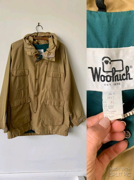 Vintage Woolrich Tan And Green Parka 1980's Woolri