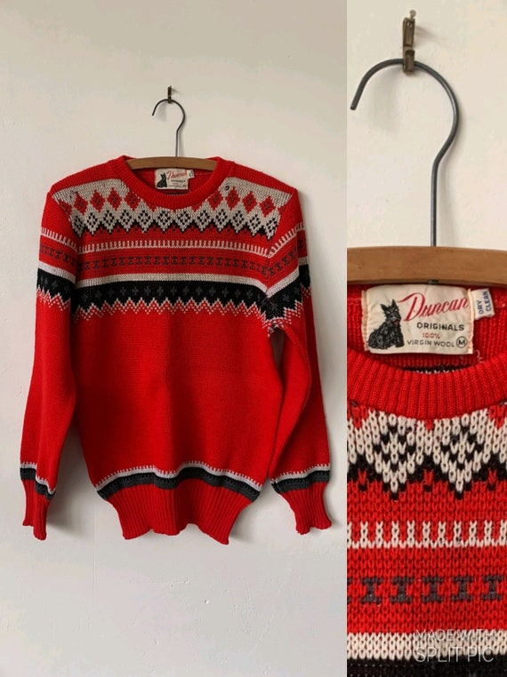Vintage Fair Isle Wool Sweater 1940's Red Wool Swe