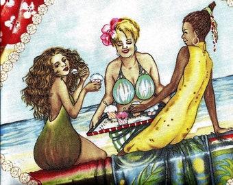 1517 DIAMOND FRUIT LADIES - Novelty - Apples Bananas Watermelon Pineapple Cherries - Women - 100% Cotton Quilt Shop Quality 34 inches