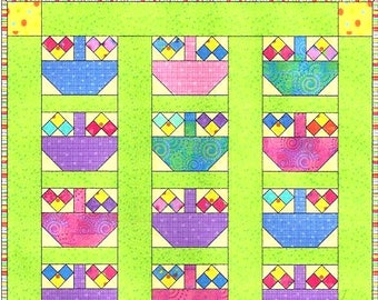 0500 - A TISKET A TASKET Easter Egg Basket Scrap Fabric Quilt or Wallhanging Pattern - Novelty - Electronically Delivered