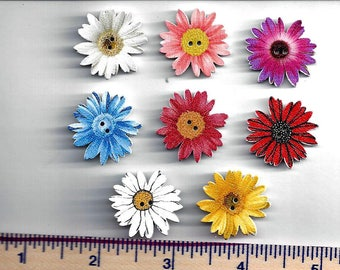 Wooden WILD FLOWER BUTTONS -   Flower Shaped Wildflower Wood Buttons  - Embellishments - 2 Hole Flat (no shank) - Sew Through - Painted