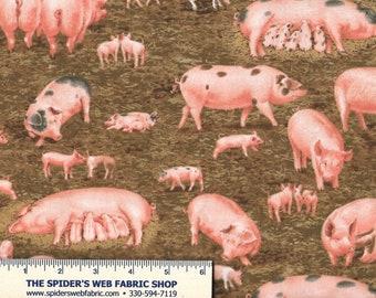 FARM ANIMALS  PIGS HOGS SWINE PIGLET 100/% COTTON FABRIC ELIZABETH STUDIO YARDAGE